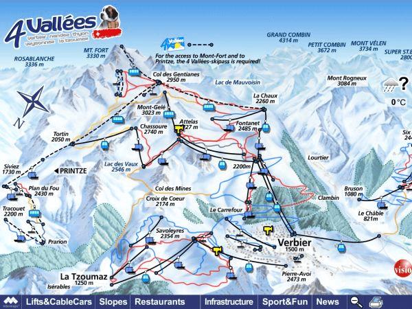 Verbier ski piste map