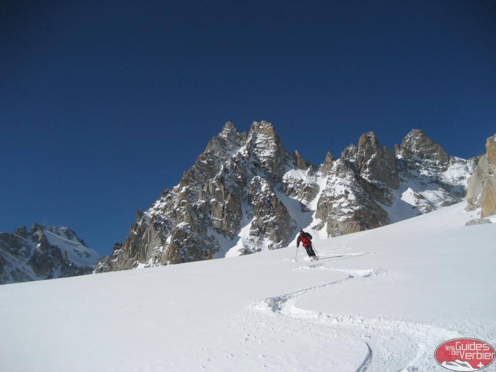man heli-skiing