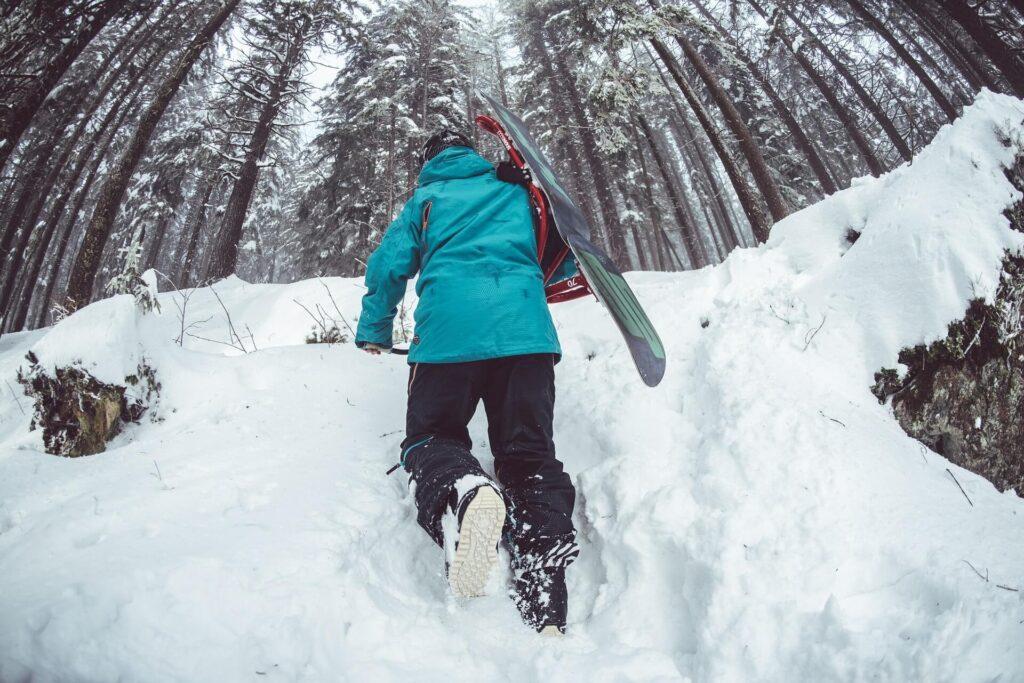 Skier walking in the snowy wood