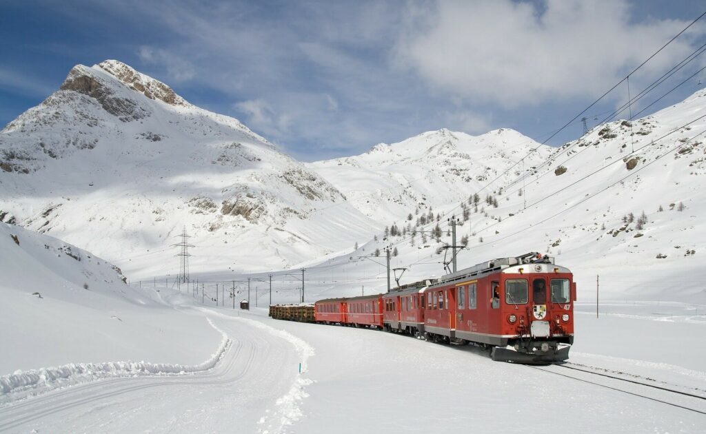 Train in the mountains during winter