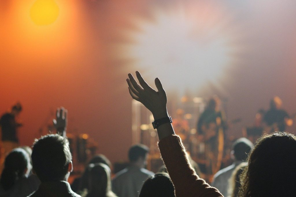 People raising hands on the concert in the club