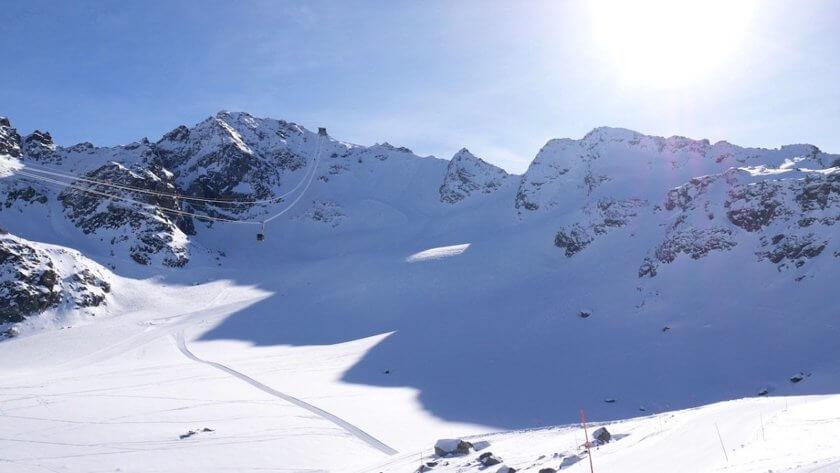 Advanced ski route in Verbier