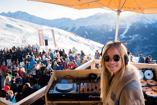 A woman DJ in Le Mouton Noir Bar