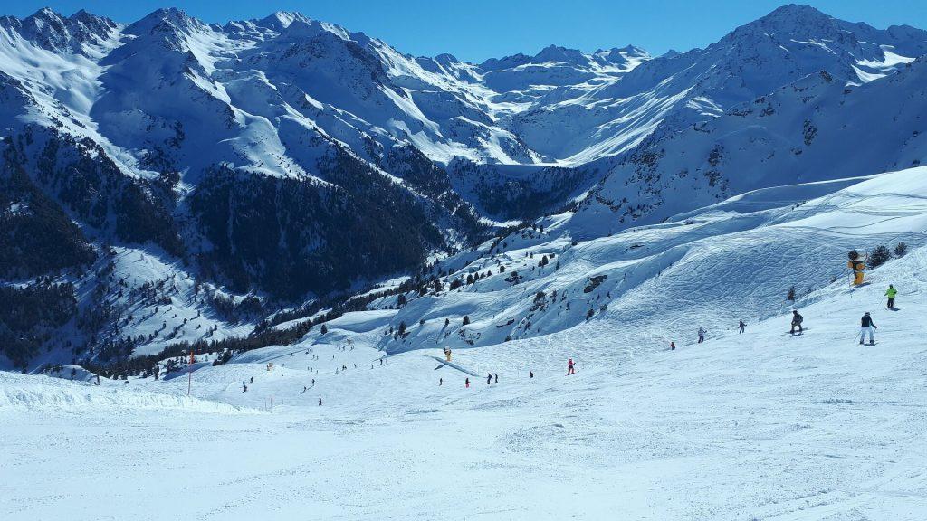 People skiing on the mountain
